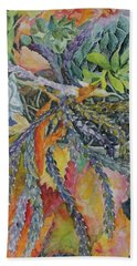 Beach Towel featuring the painting Palm Springs Cacti Garden by Joanne Smoley