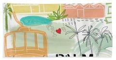 Palm Springs Cityscape- Art By Linda Woods Beach Sheet