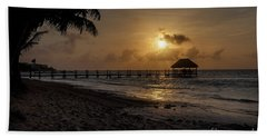 Palm Sunrise Beach Sheet by Dennis Hedberg