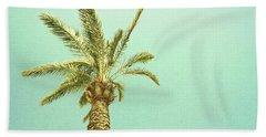 Palm Tree Against The Sky, Retro Image Beach Towel