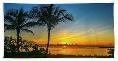 Palm Tree And Boat Sunrise Beach Towel
