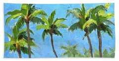 Beach Sheet featuring the painting Palm Tree Plein Air Painting by Karen Whitworth