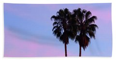 Palm Trees Silhouette At Sunset Beach Towel
