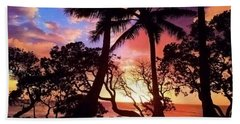 Palm Tree Silhouette Beach Sheet