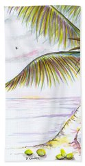 Beach Towel featuring the digital art Palm Tree Study Three by Darren Cannell