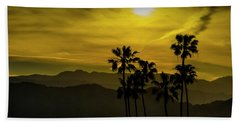 Beach Sheet featuring the photograph Palm Trees At Sunset With Mountains In California by Randall Nyhof