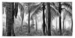 Palm Trees - Black And White Beach Towel