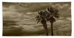 Beach Sheet featuring the photograph Palm Trees By Borrego Springs In Sepia Tone by Randall Nyhof