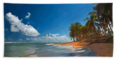 Palm Trees By The Beach, Dominican Republic Beach Towel