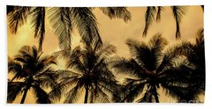 Palm Trees In Sunset Beach Towel