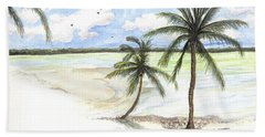 Beach Towel featuring the painting Palm Trees On The Beach by Darren Cannell