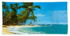 Palm Trees Sway Beach Sheet by Anthony Fishburne