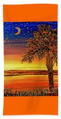 Beach Towel featuring the painting Palmetto Sunset  by Patricia L Davidson