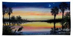 Palmetto Tree And Moon Low Country Sunset Beach Towel