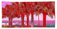 Palms In Red Beach Sheet