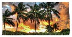Palms On Fire Beach Towel by Steven Lebron Langston