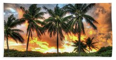 Palms On Fire Beach Sheet