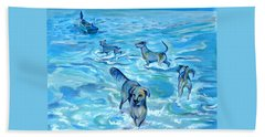 Beach Towel featuring the painting Panama. Salted Dogs by Anna  Duyunova