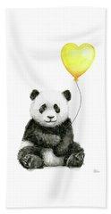 Panda Baby With Yellow Balloon Beach Towel