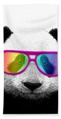 Panda Bear With Rainbow Glasses Beach Towel