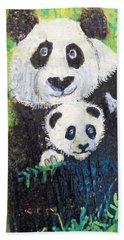 Panda Mother And Cub Beach Sheet by Ann Michelle Swadener