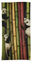 Beach Towel featuring the painting Pandas Climbing Bamboo by Leah Saulnier The Painting Maniac