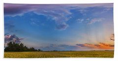 Panorama Of A Colorful Sunset Beach Towel