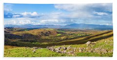 Panorama Of A Colourful Undulating Irish Landscape In Kerry Beach Sheet by Semmick Photo