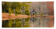 Panorama Of Cabin By The Lake Beach Towel by Shelby  Young