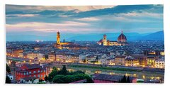 Beach Towel featuring the photograph Panorama Of Florence by Fabrizio Troiani