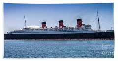 Panorama Of The Queen Mary Beach Towel