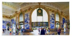 Panorama Of The Sao Bento Train Station In Oporto Portugal Beach Towel by David Smith