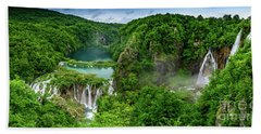 Panorama Of Turquoise Lakes And Waterfalls - A Dramatic View, Plitivice Lakes National Park Croatia Beach Towel