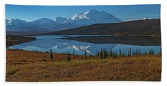 Panorama Of Wonder Lake In Denali National Park Beach Sheet
