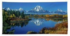 Beach Towel featuring the photograph Panorama Oxbow Bend Grand Tetons National Park Wyoming by Dave Welling