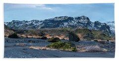 Panorama View Of An Icelandic Mountain Range Beach Towel