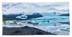 Panorama View Of Icland's Secret Lagoon Beach Towel