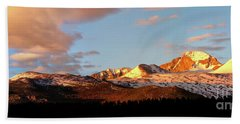 Panorama View Of Longs Peak At Sunrise Beach Towel