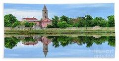 Panoramic Reflections Of Nin, Croatia Beach Towel