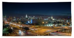 Panoramic View Of Busy Austin Texas Downtown Beach Towel