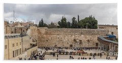 Panoramic View Of The Wailing Wall In The Old City Of Jerusalem Beach Towel