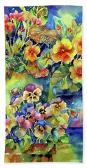 Pansies And Primroses Beach Sheet