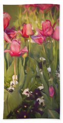 Pansies And Tulips Beach Sheet by Lana Trussell