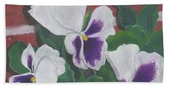 Pansies Beach Towel by Arlene Crafton