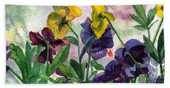 Pansy Field Beach Towel by Lynne Reichhart
