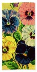 Pansy Flowers Print Beach Towel