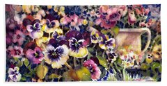 Pansy Garden Beach Towel