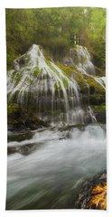 Panther Creek Falls In Fall Season Beach Towel