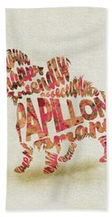 Beach Sheet featuring the painting Papillon Dog Watercolor Painting / Typographic Art by Inspirowl Design