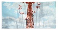 Parachute Jump In Coney Island New York Beach Sheet